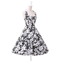 2016 Nuevas Mujeres del Estilo de La Vendimia Floral Prints 50'S 60'S Oscilación del Ama de casa Pinup Retro Party Prom Vestido