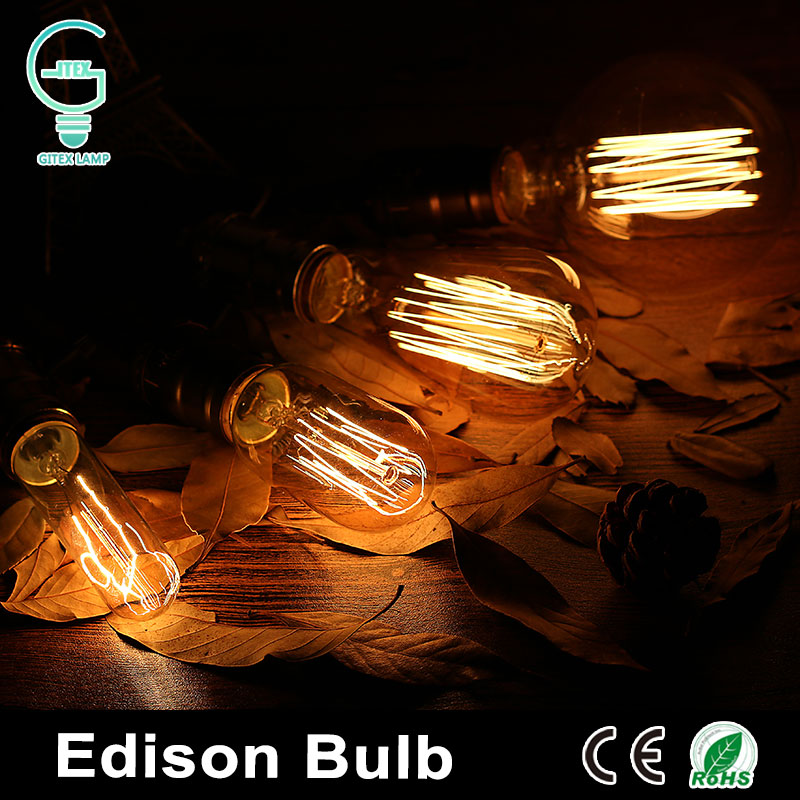 Retro Vintage Edison Bulb Chandelier Pendant Lights 220V Filament E27 Edison Lamp Incandescent Light Bulbs Antique Tungsten Lamp