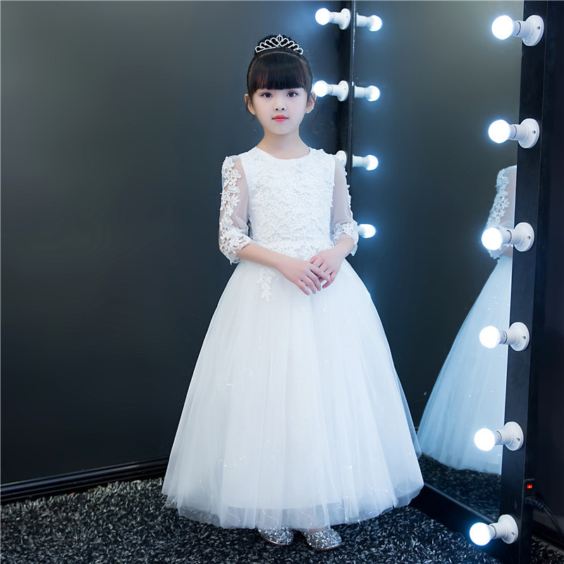 Luxury Long White Lace Half Sleeves Flower Girls Dresses Teenagers Autumn Wedding Formal Birthday Party Princess Pageant Gowns girls lace mesh half sleeves dress for princess pageant wedding bridesmaid birthday formal party