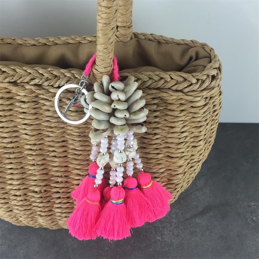Handmade Jewelry Ethnic Keychain Shell Crystal Colorful Thread Tassel Beaded Charm Key Chain Stylish Bohemian Party Gift