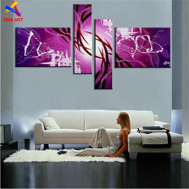 The Purple! ! Huge  Real Handmade Modern  Oil Painting On Canvas Wall Art ,Z071