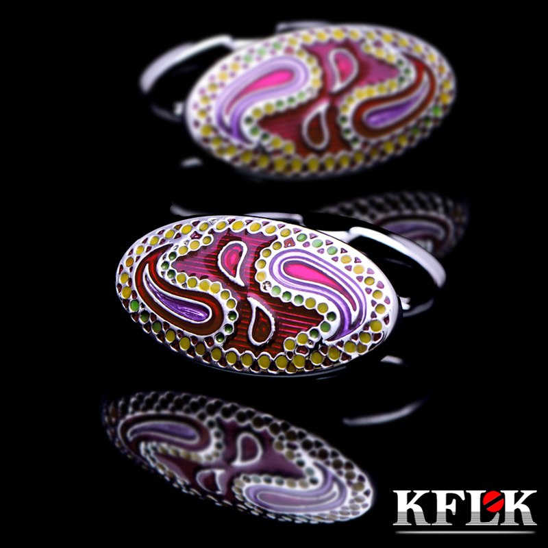 KFLK Jewelry Fashion French shirt cufflinks for mens Brand enamel cuff links button male High Quality patterns Free Shipping цена
