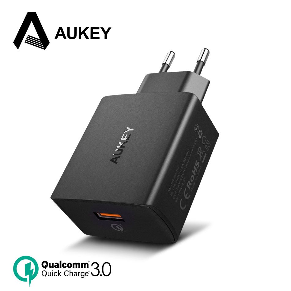 AUKEY USB Charger Quick Charge 3.0 Fast Mobile Phone Charger for Samsung Galaxy S9 S8 Xiaomi mi 8 iPhone 7 8 X Plus Wall Charger