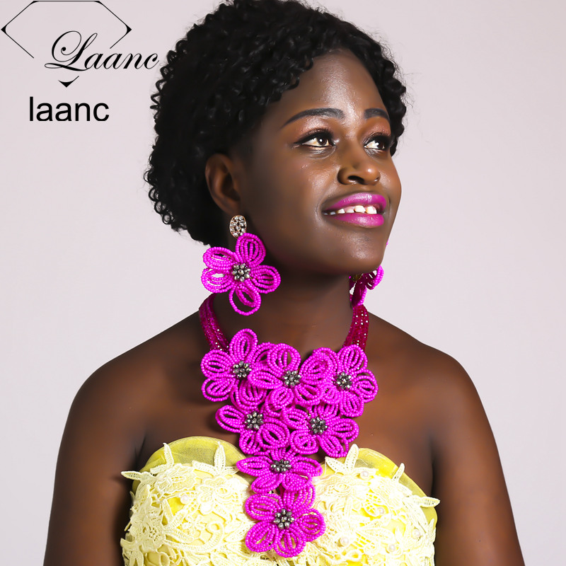 Laanc Hot Pink Crystal Flower Necklace Nigerian Wedding African Beads Jewelry Set for Black Girls and Women AL625 ...