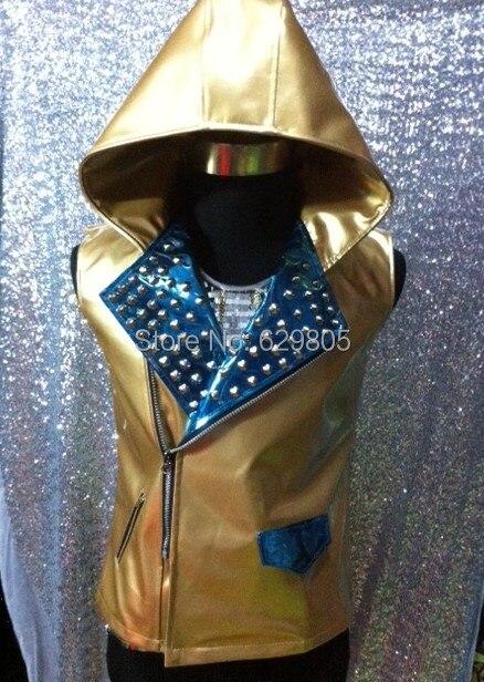 2016 Männer Fashion Gold Pu Leder Nieten Jacke Weste Oberbekleidung Mantel Nachtclub Bar Dj Männlichen Sänger Ds Tänzerin Bühne Tragen Kostüm üBerlegene Materialien