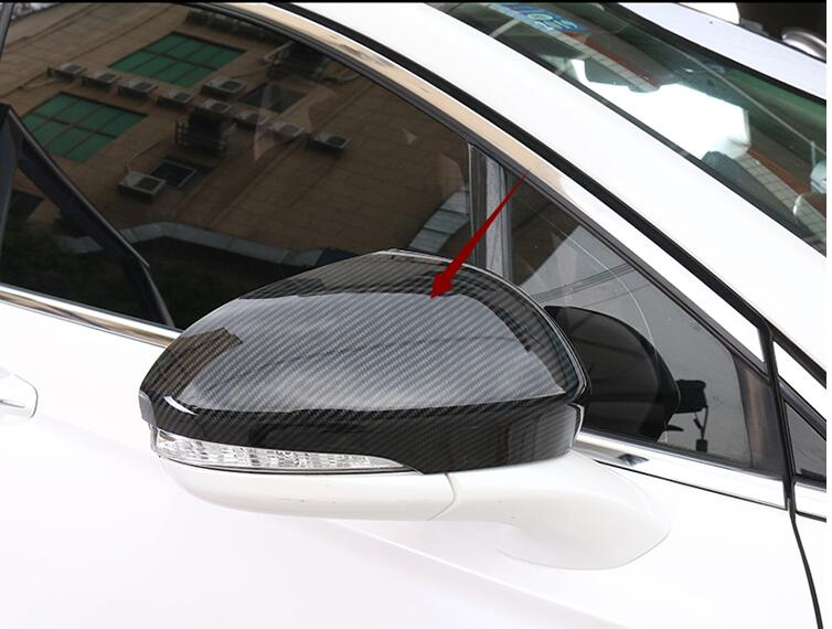 цена на FOR Ford Mondeo For Fusion 2013 -2018 ABS Carbon fibre Print DOOR SIDE-VIEW WING REARVIEW MIRROR COVER TRIM 2PCS