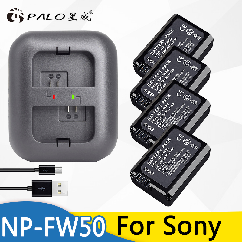 PALO 4x bateria NPFW50 NP-FW50 Camera Battery for SONY NEX 5T 5R 5TL 5N 5C 5CK A7R A7 F3 3N 3CA55 A37 A5000 A6000 A55+a Charger