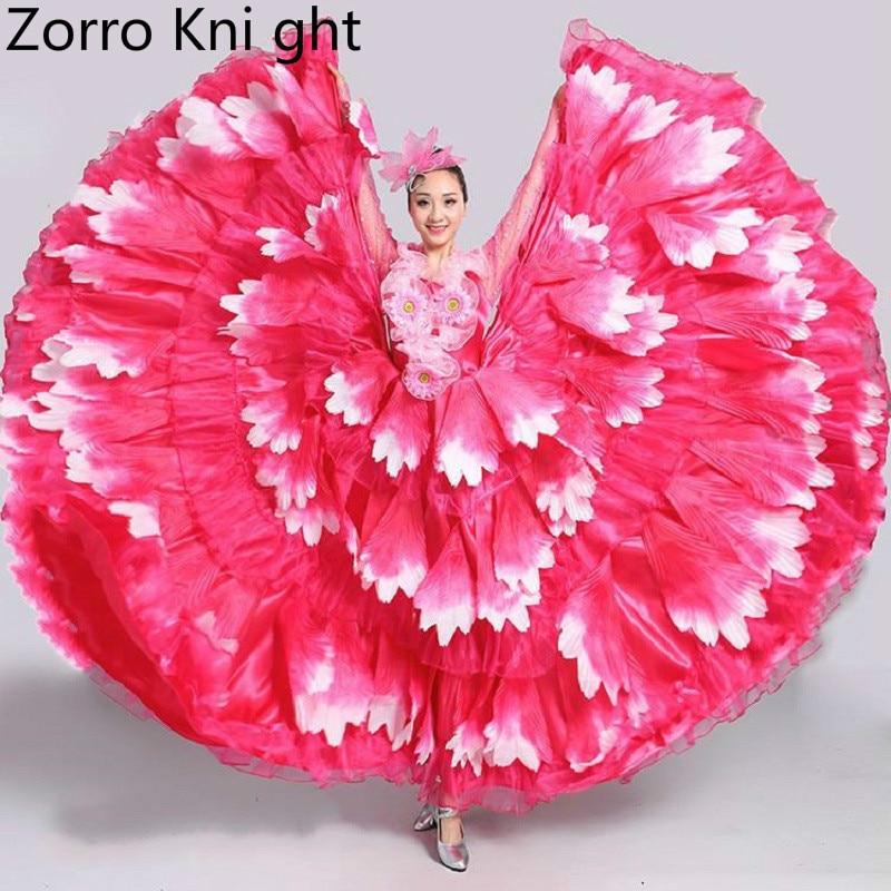 2018 la nouvelle ouverture danse robe pleine jupe espagne danse de la tauromachie robe pleine jupe Costumes pétales jupe à manches longues