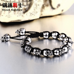 Steel soldier stainless steel skull bracelet men fashion unique jewelry skull skeleton bangle