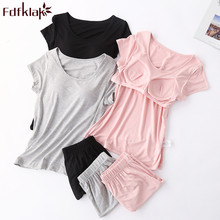 Fdfklak Summer pajamas for women short sleeve cotton sleepwear set