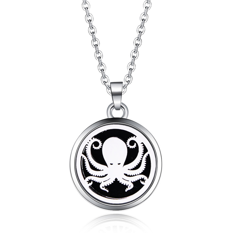 Silver Octopus Aroma Box Necklace Magnetic Stainless Steel Aromatherapy Essential Oil Diffuser Perfume Locket Pendant Jewelry locket