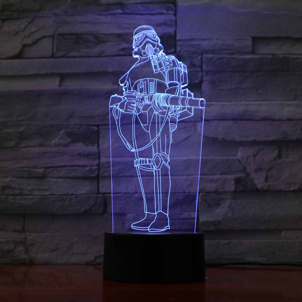 3D LED Star Wars Warrior Shape Desk Lamp 7 Colors Changing Acrylic NightLight USB Bedroom Bedside Decor Baby Sleep Lighting Gift