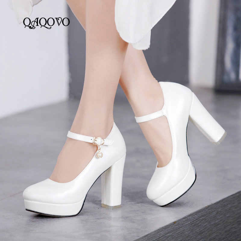 Women Platform Pumps Fashion Square High Heels Ankle Strap Buckle Spring  Summer Party Shoes Female White 3ae8ef29788c