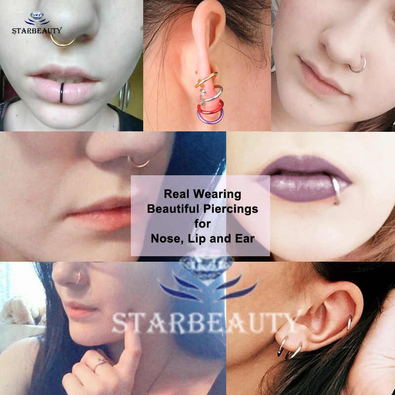 2pcs מזויף האף טבעת גותיקה האף טבעות מזויף פירסינג Labret שפתיים 10mm סחוס אוזן פירסינג Nariz וו מזויף עגילי קליפ תכשיטים