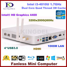 Kingdel Intel i3 4010U Dual Core 1.7 ГГц тонкий клиент игры компьютер HTPC 4 ГБ Оперативная память 320 ГБ HDD Wi-Fi HDMI USB 3.0 VGA ОС Windows 7