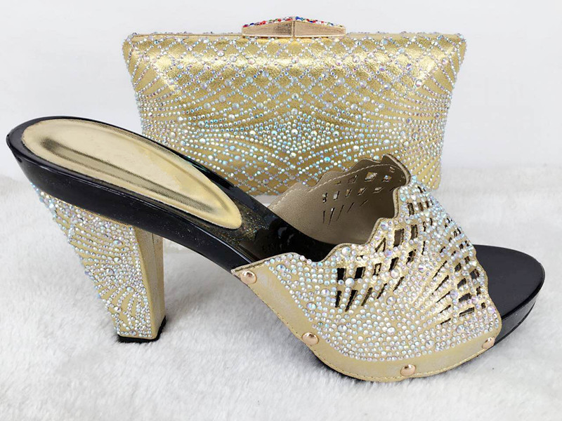 African Women Shoes and Matching Bags Set Italian African Wedding Shoe and Bag Sets Decorated with Diamonds for Party lu1-25