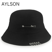 New 2019 Men Women Bucket Hats Japan and Korea Street Style Harajuku Letters Print Streamers Lace Up