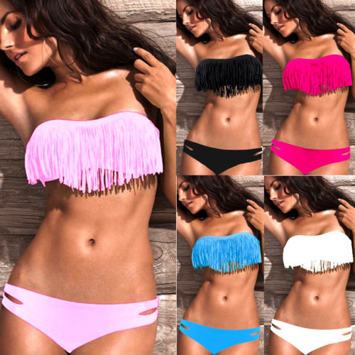 Summer Womens Sexy Bandage Push-up Padded Bikini Set Swimsuit Tassels Triangle Bathing Swimwear glane brief 2017 new sexy top womens summer two piece push up padded bra bandage bikini set swimsuit triangle swimwear bathing