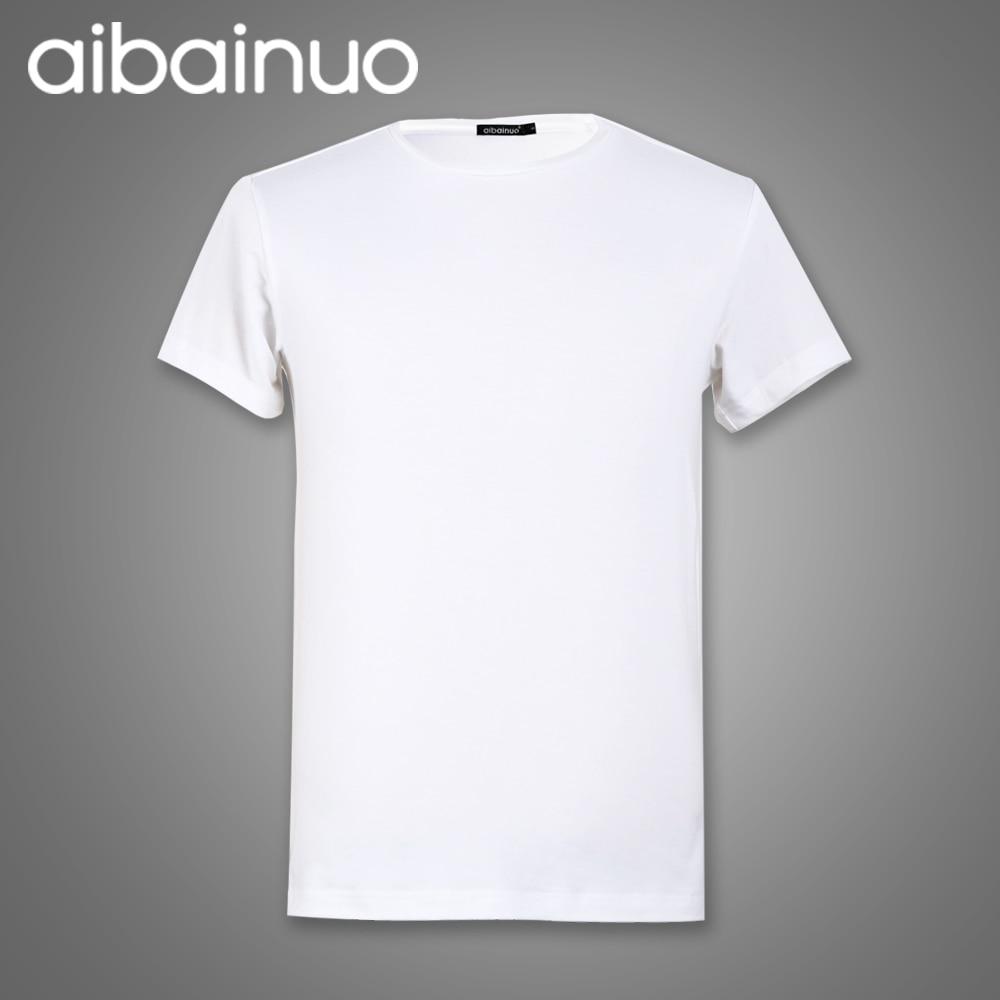 2018 Summer New O-neck Camiseta de color liso Hombre Blanco 100% - Ropa de hombre