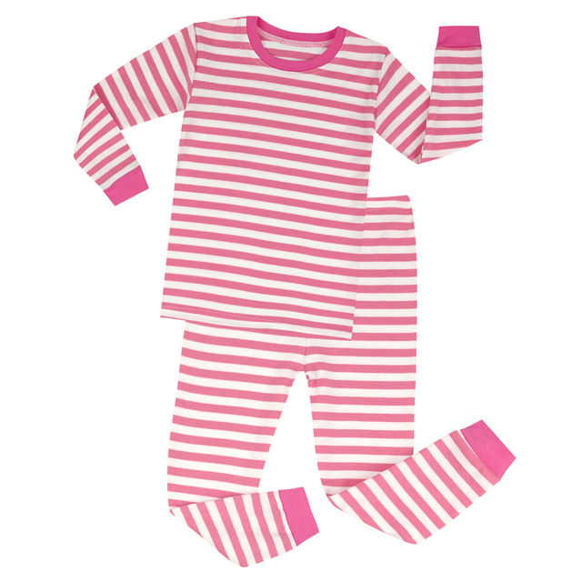 a01b68f313ed New Baby Girls Pink and White Striped Pajamas Sets Kids Christmas ...