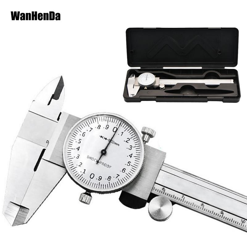 0-150mm/0.02mm Dial caliper Metric Gauge Measuring Tool Dial Caliper Shock-proof Stainless Steel Precision Vernier Caliper tools