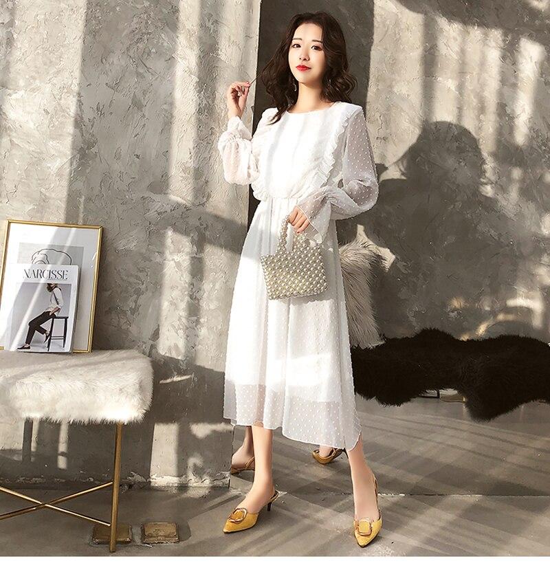 BGTEEVER Ruffles Polka Dot Women Chiffon Dress Elastic Waist Flare Sleeve Female Long Vestidos A-line White Dress 19 12