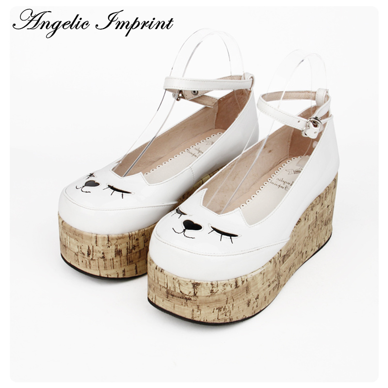 Lovely Smilling Kitty Face Faux Wooden Wedge Lolita Shoes Ankle Strap Sweet Pink Girls Shoes 8435 lovely smilling kitty face faux wooden wedge lolita shoes ankle strap sweet pink girls shoes