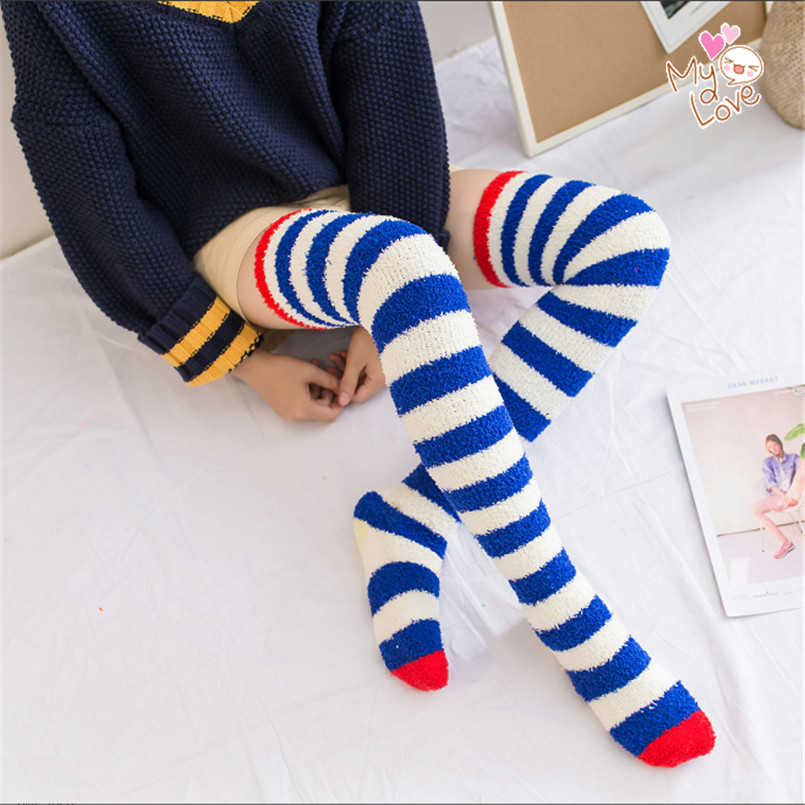 2f4cdca0b Fluffy Long Elastic Women Winter Coral Velvet Stocking Thick Warm Striped  Stocking Sleep Socks Medias De