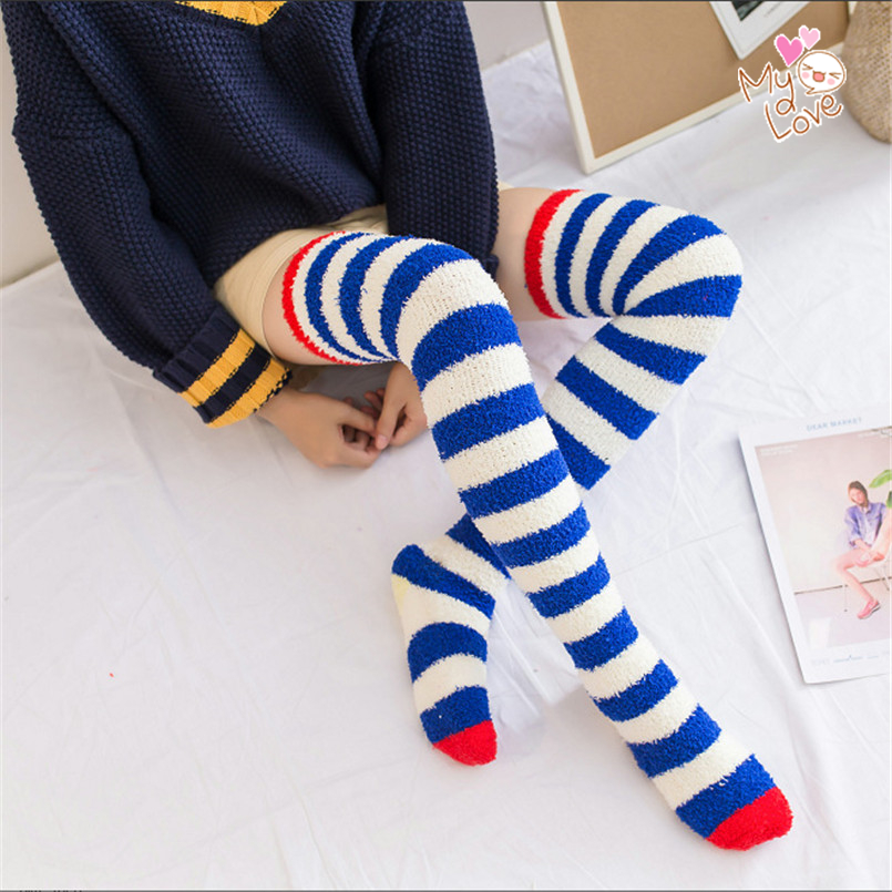 Fluffy Warm Long Elastic Women Coral Fleece Stockings Plus Size Striped Winter Stockings Sexy Medias De Mujer Knee High Socks