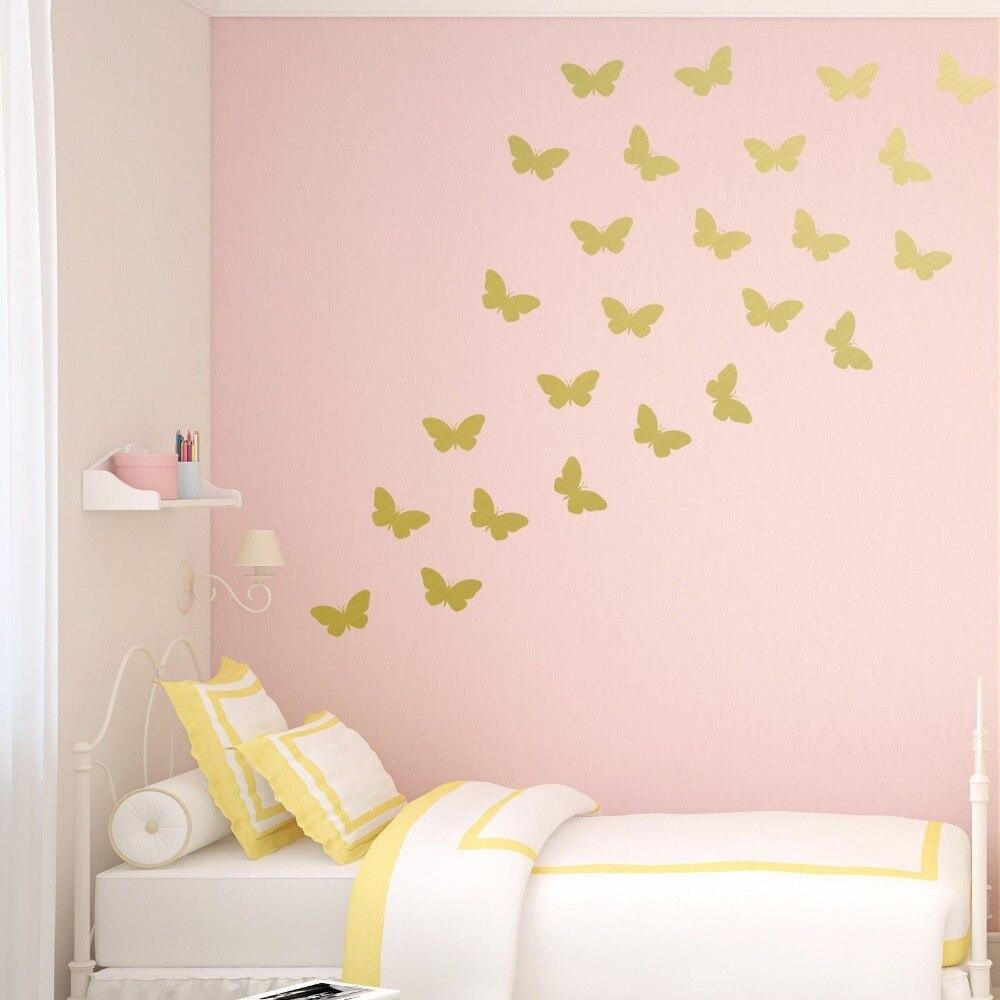 Set of 54 pcs Butterflies Wall Decal Vinyl Sticker Art Home Decor Kids Room Mural Vinyl Art Sticker for Girls Princess S 14 in Wall Stickers from Home Garden