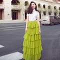Trendy 2016- 2017 High End 6 Layers Tiered Ruffles Floor Length Chiffon Skirt For Pretty Lady Elastic Style Skirt For Women