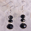Free Shipping New without tags Fashion Jewelry New Zinc Alloy Black Crystal Faceted Beads Earrings 1Pair RU205