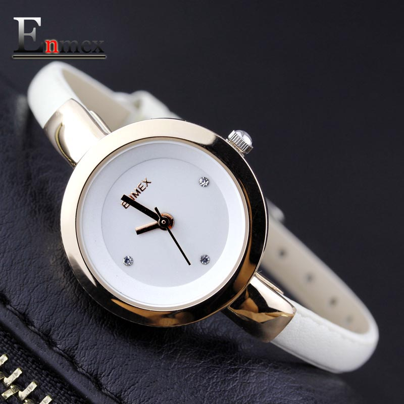 2017 Memorial gift Enmex women creative slim strap font b watch b font golden white graceful