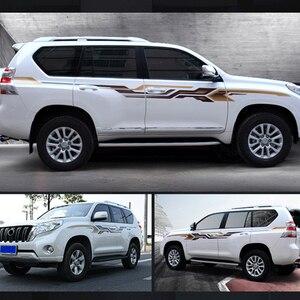 Image 2 - 2 strony samochodu ciała paski 3 M linia talii naklejki naklejki Auto grafiki dla Toyota Prado