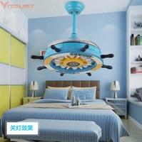 Современные дети потолочных вентиляторов для мальчиков и девочек Спальня вентилятор деревянный потолок ламп гостиная столовая дети милые