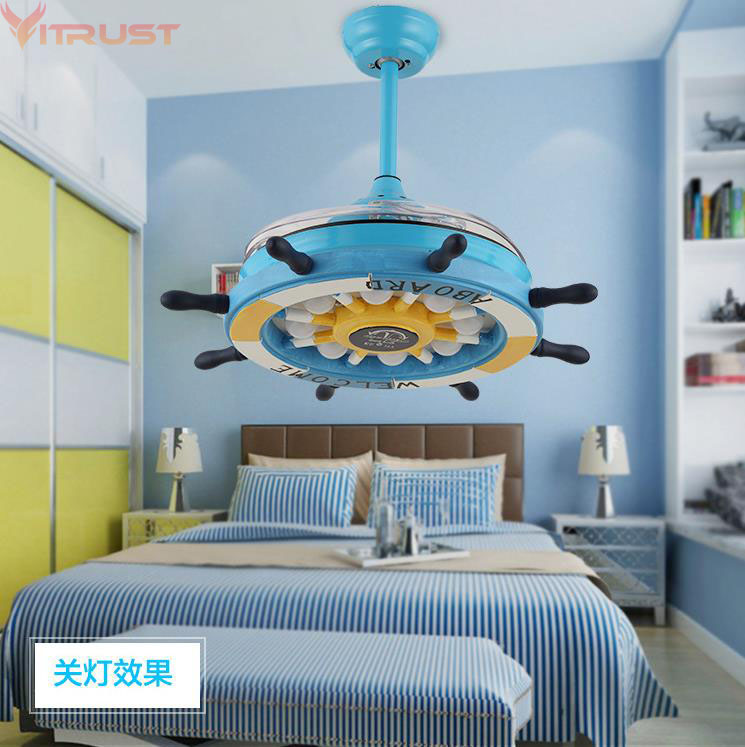 Ceiling Fans Lovely Colorful Country Wooden Leaf Iron Led Ceiling Fan With Remote Control For Bedroom Childrens Room Dining Room 2203