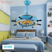 Modern Kids Ceiling Fans for Boys Girls Bedroom Wood fan Lights Lamps Living Dining room Children Cute Remote Control