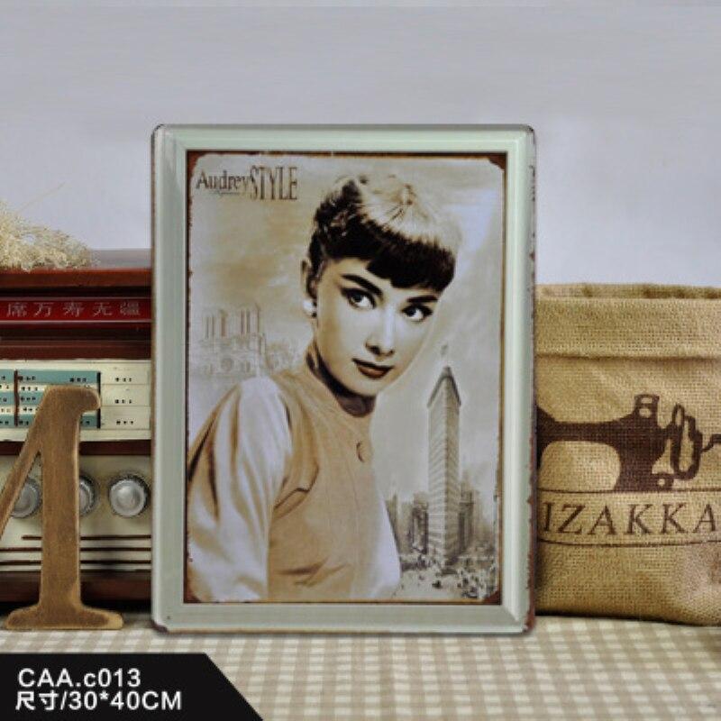 Agressief Hepburn Grote Vintage Metalen Schilderij Poster Muursticker Tin Teken Retro Iron Art Bar Cafe Wanddecoratie 30x40 Cm