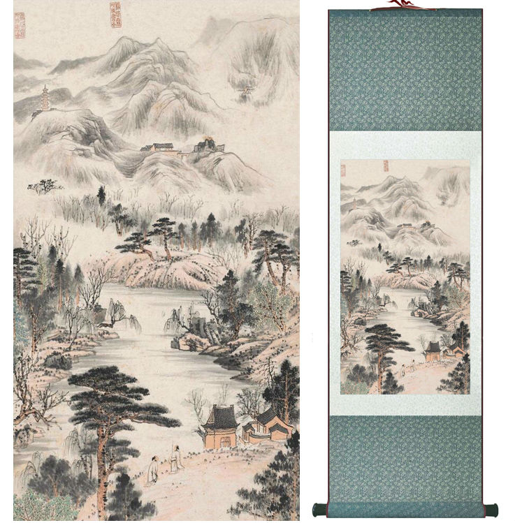 Zhangdaqian Mountain and River painting Chinese scroll painting landscape art painting home decoration painting0402013