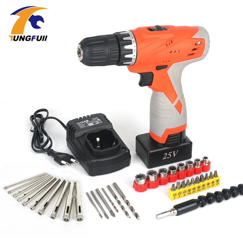 Tungfull Drill Electric Batteries Screwdriver Cordless Hammer Drill Power Tools Mini Drilling Cordless Electric Screwdriver
