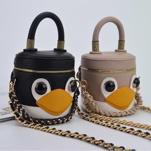 2017 PU Leather Faux Chain Penguin 3D Cute Mini Zipper Trunk Bucket Small Women 's Handbag Shoulder Crossbody Bag Ladies Totes