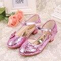 Chegada nova kids shoes meninas shoes moda bling crianças dress shoes salto alto bonito arco-nó único shoes meninas