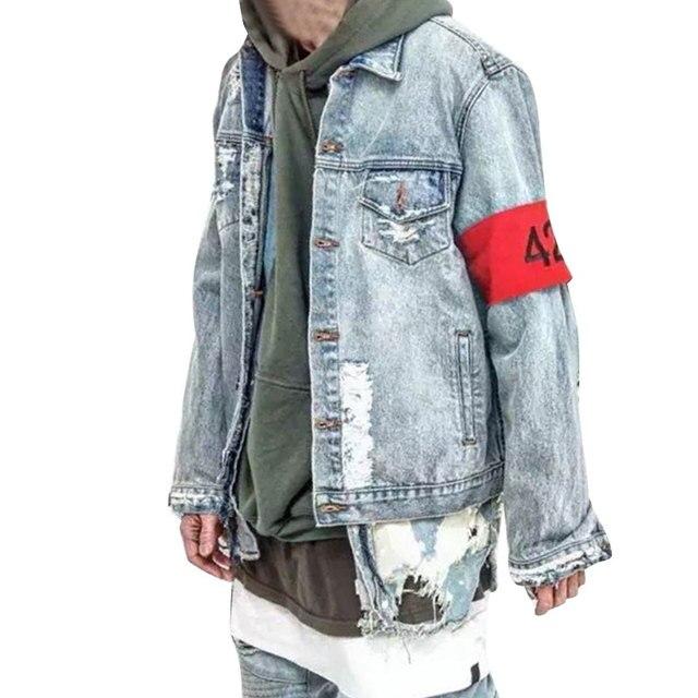 2017 Hot Sale 424 Streetwear Fashion Holes Denim Jean Jackets Men Women Female Bomber Man Jacket Men's Windbreaker Couples Dress