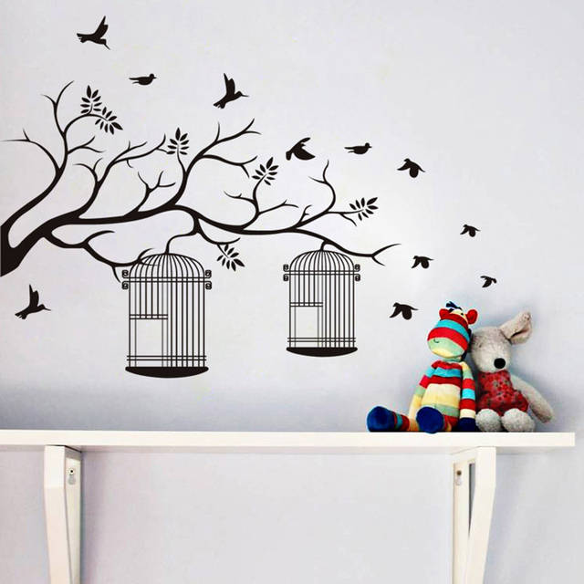 branche et cage oiseaux motif sticker mural auto adh sif. Black Bedroom Furniture Sets. Home Design Ideas