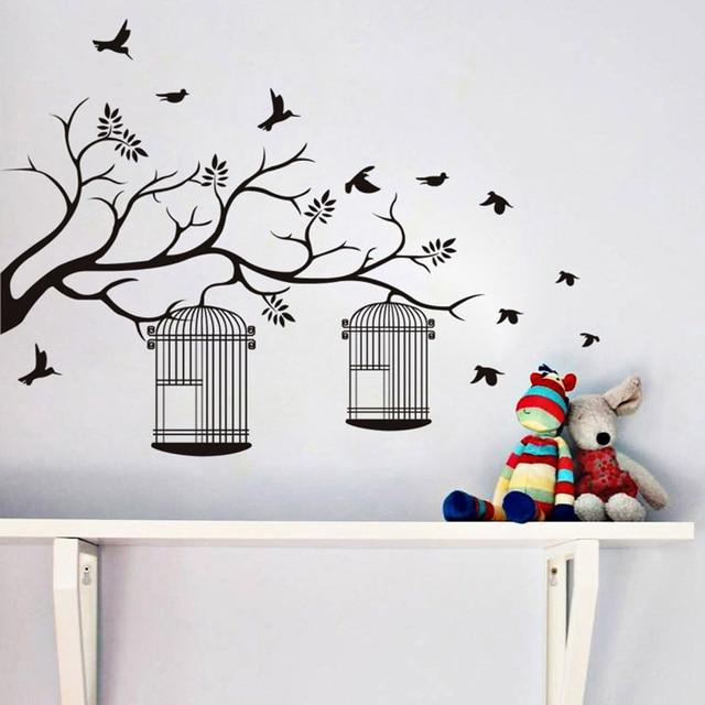 branche et cage oiseaux motif sticker mural auto adhsif papier peint noir arbre oiseaux - Decoration Stickers Muraux Adhesif