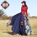 O Envio gratuito de 2017 Nova Cintura Elástica Longa Maxi Floral Mulheres inverno de Algodão E Linho Saias Com Big Hem Estilo Chinês saias