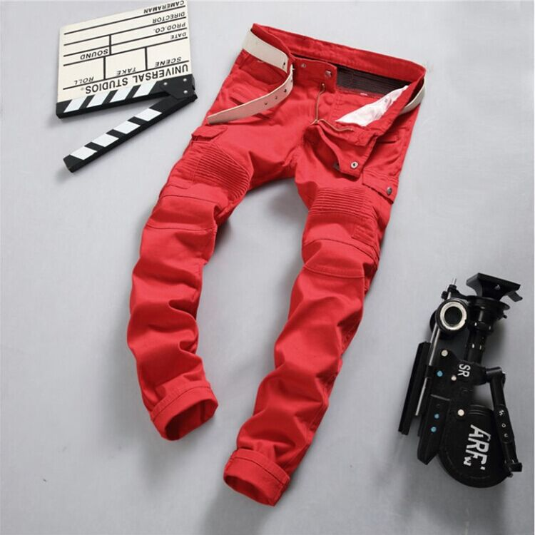 ФОТО 2016 New Fashion Mens Designers Red Colour Stretch Moto Biker Jeans Famous Brand Slim Fit Skinny Pencil Jeans Pants Boot Cut Hot