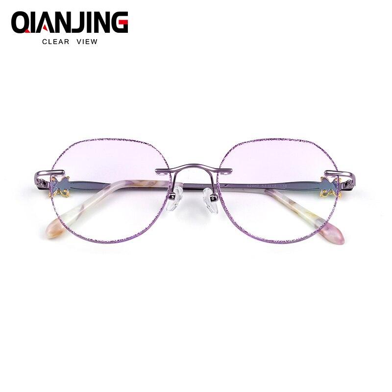 Femmes De Mode Lunettes Lunettes Sans Monture de Titane Cadre Diamant Décorations Optique Cadre avec Prescription Verre NOUVEAU oculos 620