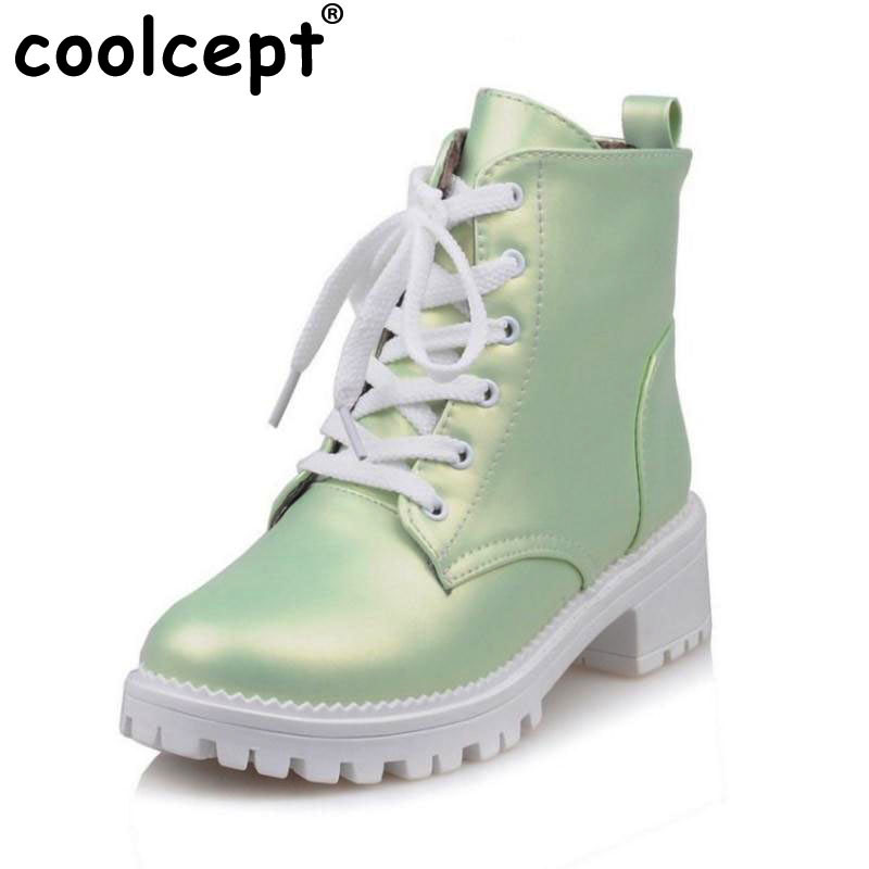 Coolcept Size 33-43 Ladies Med Heels Ankle Boots Women Thick Platform Round Toe Lace Up Shoes Women Winter Warm Botas Footwear women round toe thick heel ankle boots woman new fashion platform martin botas winter warm fur footwear shoes size 34 43