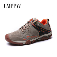 2019 Genuine Suede Leather Men Sneakers Lace Up Men Casual Shoes Fashion Breathable Comfortable Outdoor Men Hiking Shoes walking
